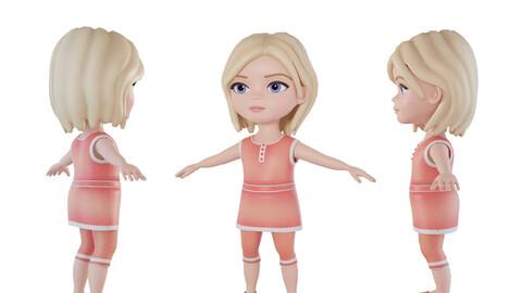 Cartoon little girl 3d character