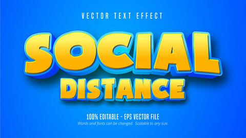 Social Distance text, cartoon style editable text effect