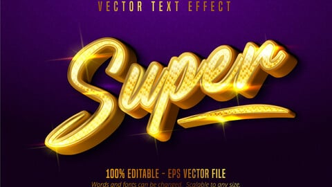 Super text, shiny golden style editable text effect