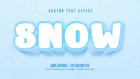 Snow text, cartoon game style editable text effect