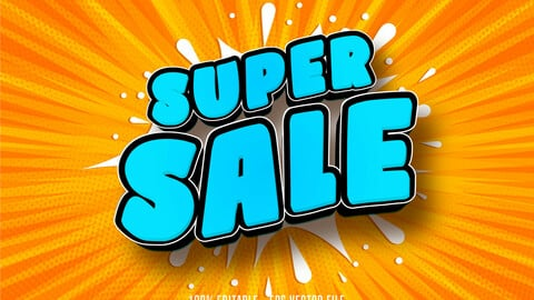 Super sale text, shopping style editable text effect
