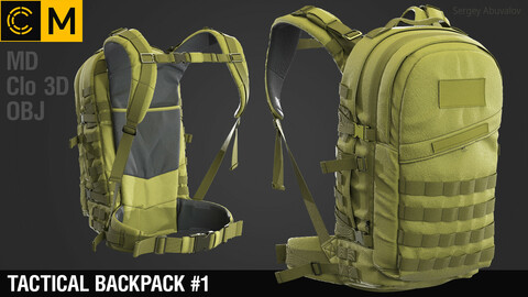 Tactical backpack  #1 / Marvelous Designer / Clo 3D project + obj