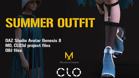 Summer Female outfit - sundress, sunglases and shoes for Genesis8 Female Avatar. MD, Clo3D project files and OBJ files