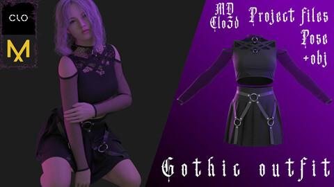 Marvelous designer/Clo3d GOTHIC OUTFIT (Skirt/Top/Underwear) Zprj/Obj/Pose