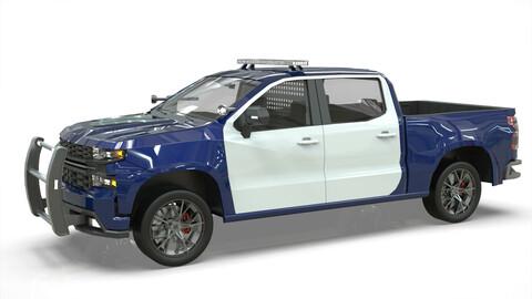 Silverado 2020 police pickup lowpoly concept