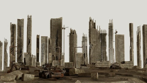 Post Apocalyptic destroyed skyscrapers Pack
