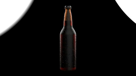 Beverage Beer Bottle with Water Drops