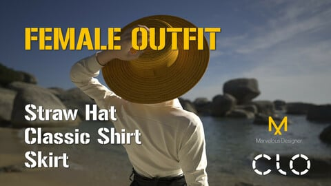 Female Outfit wih Summer Straw Hat. MD, Clo3D project file + OBJ