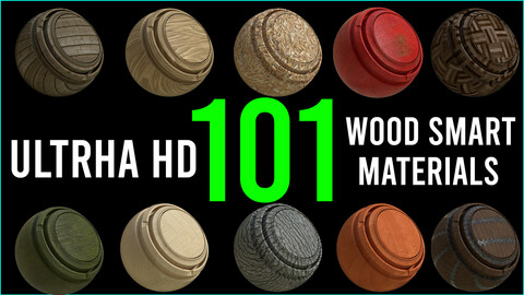 101 Ultra HD Wood Smart Materials / 8K / .spsm