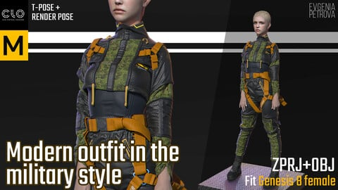 Modern outfit in the military style. Clo3d MD projects + OBJ + render project