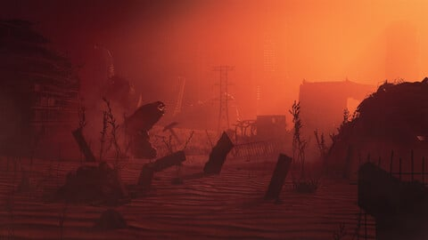 C4D OCTANE Steampunk wasteland ruins desert The end of the world