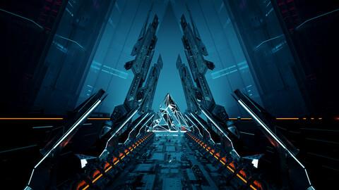 C4D Octane Scifi LOGO Star Warship Star Trek Cyberpunk style frame