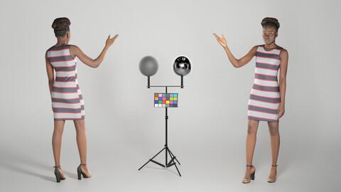 Pretty woman in striped dress 276