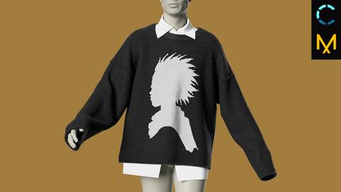 Streetwear oversized sweater. Marvelous Designer, Clo 3D model project ZPRJ