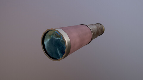 Low Poly Telescope 3D Model