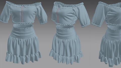Women's Stylish Croptop with Skirt