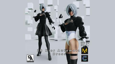 2B Nier Automata Dress - Marvelous Designer / Clo