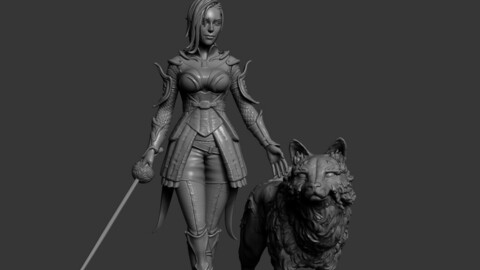 The Dark Elfess Girl and her wolf 3d Print model