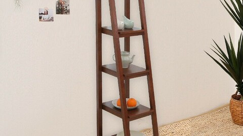 Rubber wood solid ladder multi-purpose storage shelf 3colors