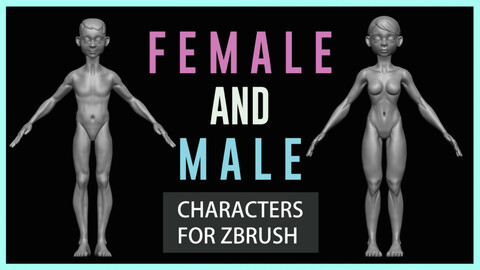 Female and Male Characters for ZBRUSH  -  (ZPR,ZTL, OBJ and FBX) Files