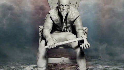 King Ragnar Lothbrook Seated on a Throne Real Life Historical Viking Character 3D Model Print Figurine