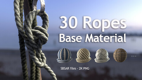 30 Ropes and Cables Base Material - SBSAR+2K PNG - 2Free Samples