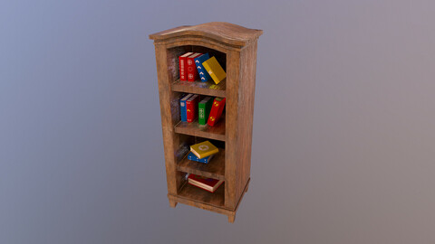 Low Poly Bookcase 3D Model
