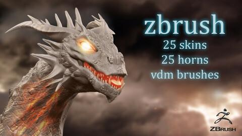 50 zbrush - Dragon skin and horn vdm brushes