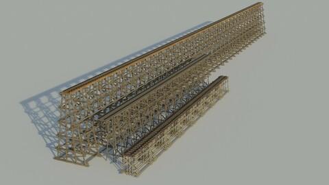 Three models 3D Wood trestle bridge and rail tracks