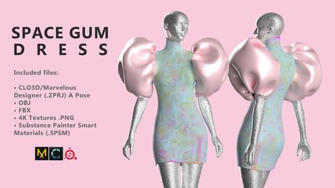 3D Mini Dress. Marvelous Designer / Clo3d project + OBJ/FBX + 4K Textures + Substance Painter Smart Materials files