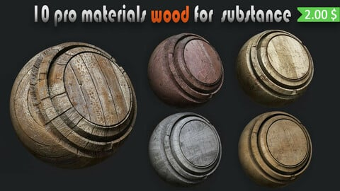 10 pro wood material for substance painter