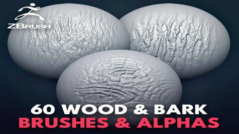 60 zbrush-wood Brushes_tree bark + alpha