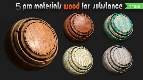 5 free wood material for substance painter(PRO)