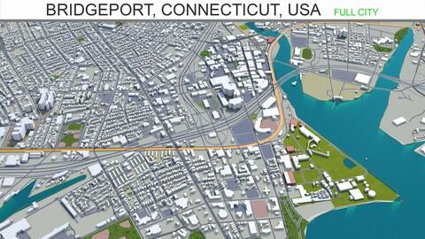 Bridgeport city Connecticut USA 3d model 30km