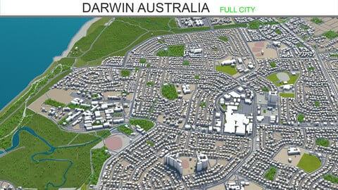 Darwin city Australia 3d model 20km