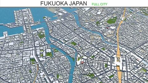 Fukuoka city Japan 3d model 50km