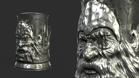 Odin-shaped silver cup holder (for game/rendering/3d-printing)