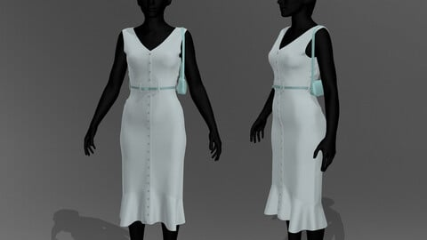 Summer Dress MD, Clo3D and obj