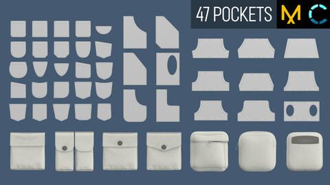 47 pocket shapes. Marvelous Designer / Clo 3D projects (ZPRJ)