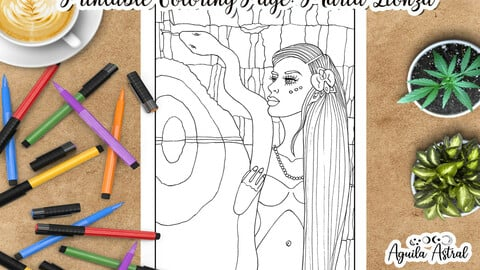 Printable Coloring Page Maria Lionza or India Yara, Venezuelan Goddess of Waters, Nature and Love