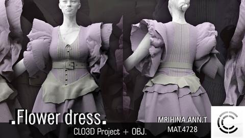 .Flower dress. Clo3d, Marvelous Designer.