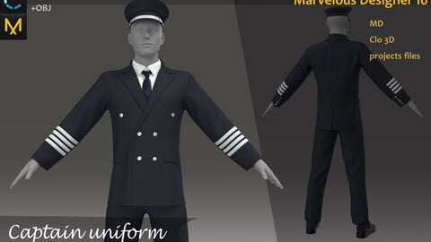The German military uniform_Pirate Captain Clothes_Military Officer Attire_Clo3d, Marvelous Designer Project + FBX + OBJ(if needed)