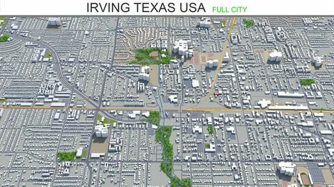 Irving city Texas USA 3d model 30km