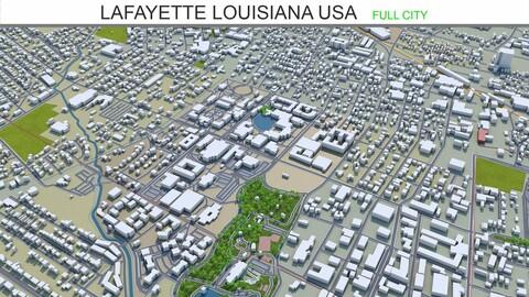Lafayette city Louisiana USA 3d model 25km