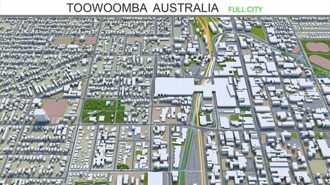 Toowoomba city Australia 3d model 35km