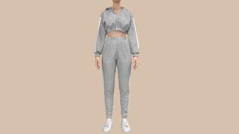 Female TrackSuit Clo3D , Marvelous Designer