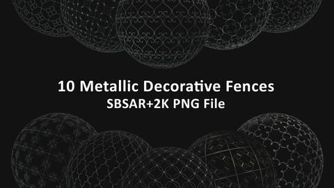 10 Metallic Decorative Fences SBSAR+2K PNG File