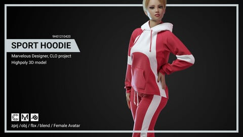 Female Sport Hoodie - Marvelous Designer, CLO project