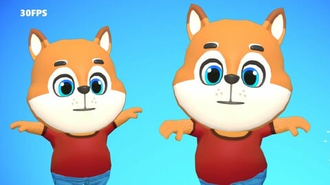 Fox Dog Animated Rigged