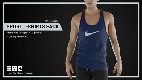 Sport T-shirts Pack - Marvelous Designer, CLO Project